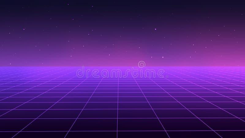 Абстрактный футуристический стиль 1980s ландшафта Предпосылка партии иллюстрации 80s вектора ретро предпосылка научной фантастики иллюстрация штока