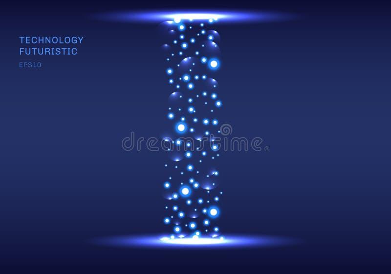 Абстрактный футуристический тоннель технологии с искрами элементов particels на предпосылке drak голубой бесплатная иллюстрация