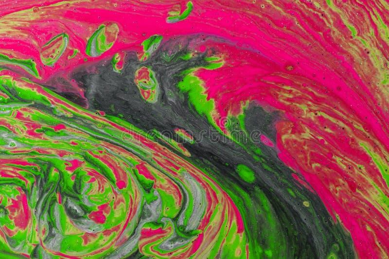 Абстрактный цвет фона из-за закрытия разлитых красок стоковые фотографии rf