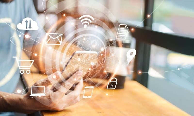 Абстрактный цифровой маркетинг Человек используя мобильную глобальную вычислительную сеть