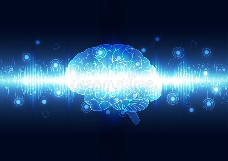 Абстрактный цифровой мозг, вектор предпосылки концепции технологии иллюстрация штока