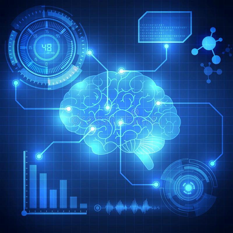 Абстрактный цифровой мозг, вектор предпосылки концепции технологии иллюстрация вектора
