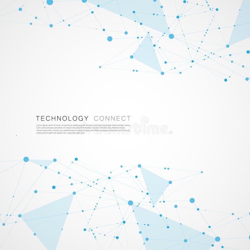 Абстрактный цифровой поли дизайн предпосылки сетки Соедините геометрическую полигональную структуру с линиями и точками иллюстрация вектора