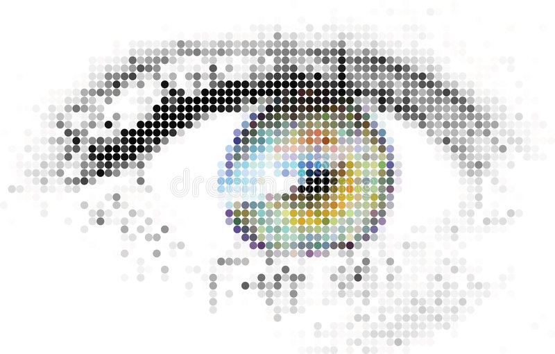 абстрактный цифровой человек глаза иллюстрация вектора