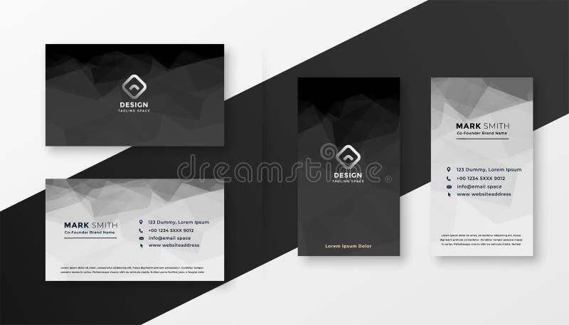 Абстрактный черно-белый шаблон визитной карточки бесплатная иллюстрация