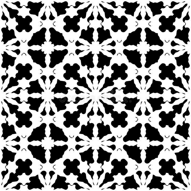Абстрактный черный & белый отражающий орнамент, безшовная картина бесплатная иллюстрация