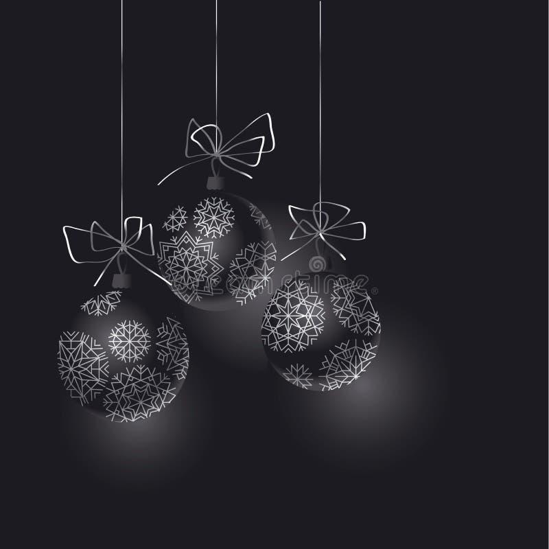 Абстрактный черный заголовок безделушек рождественской елки бесплатная иллюстрация
