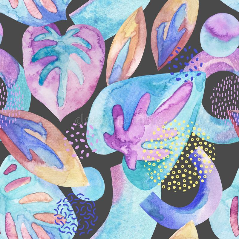 Абстрактный чертеж геометрических элементов с акварелью, чернилами, текстурами doodle на предпосылке иллюстрация штока