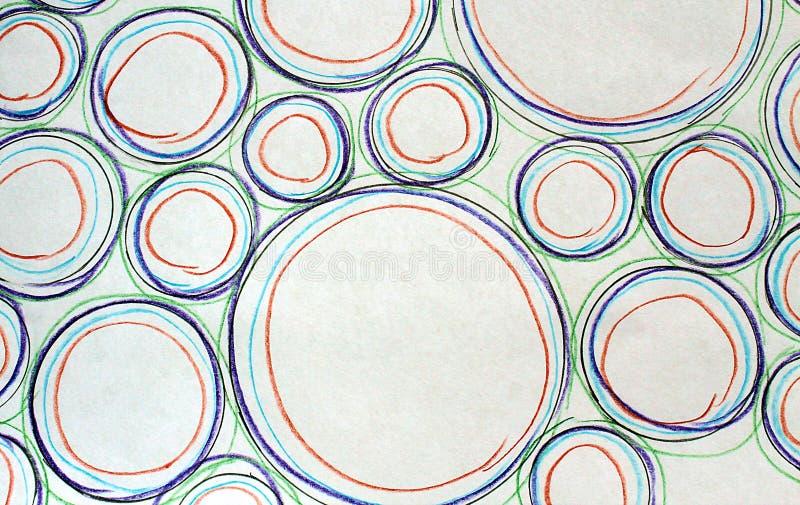 Абстрактный чертеж покрасил сфотографированные круги других цветов и размеров и стоковые фото
