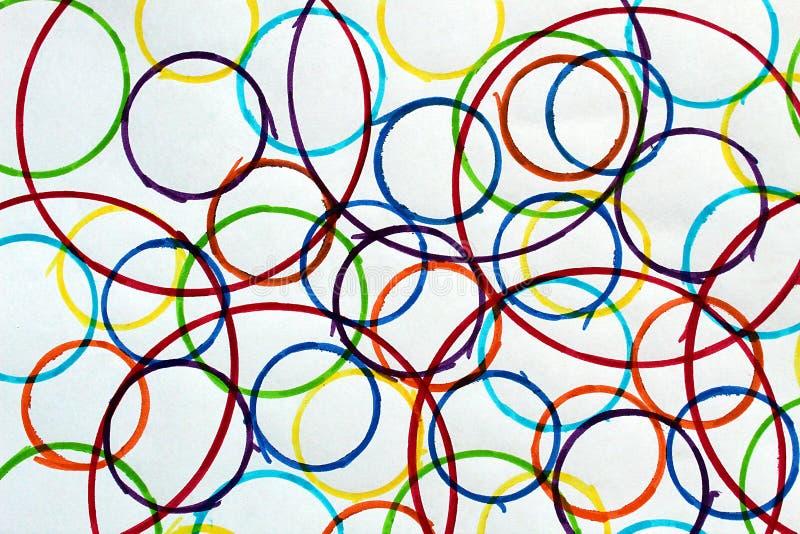 Абстрактный чертеж покрасил сфотографированные круги других цветов и размеров и бесплатная иллюстрация