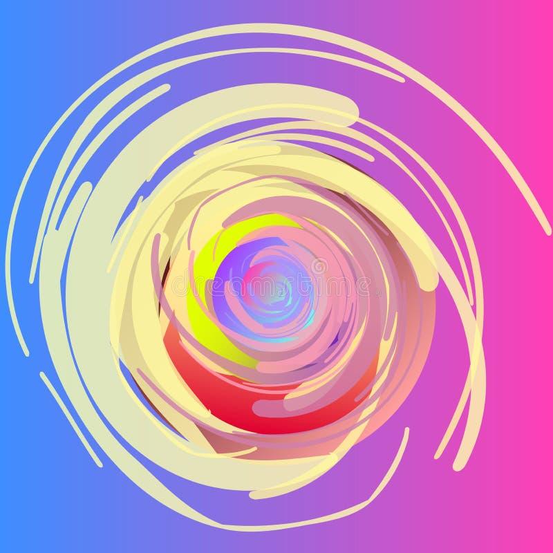 абстрактный чертеж Спирали, пушистые переплетая круги, покрашенные с большими ходами Альтернативная предпосылка иллюстрация штока