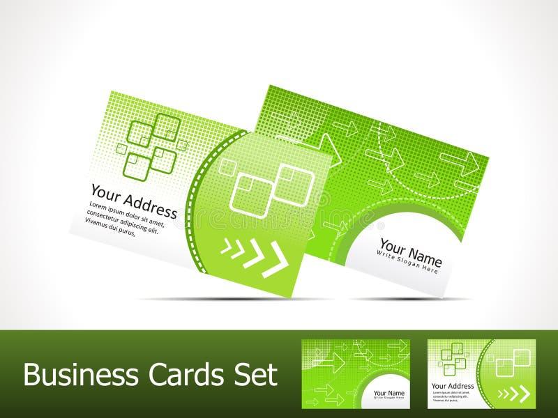 абстрактный шаблон зеленого цвета визитной карточки иллюстрация штока