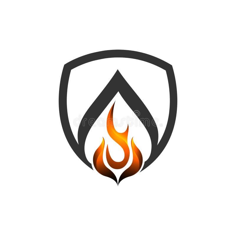 Абстрактный шаблон логотипа иллюстрации концепции логотипа вектора пламени экрана огня иллюстрация вектора