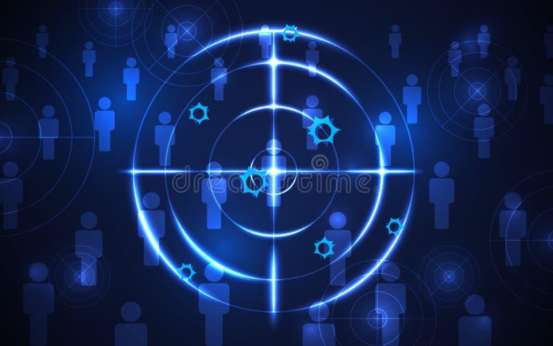 Абстрактный шаблон потенциальной аудитории стрельбы, концепция цифровой технологии футуристическая иллюстрация штока