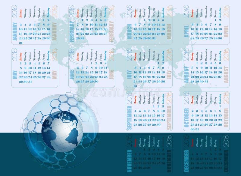 Абстрактный шаблон дизайна на календарь 2016 бесплатная иллюстрация