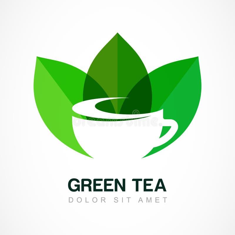 Абстрактный шаблон дизайна логотипа Символ зеленого чая, естественное травяное иллюстрация вектора