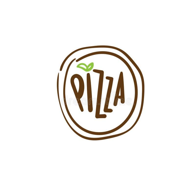 Абстрактный шаблон логотипа пиццы с текстом иллюстрация вектора