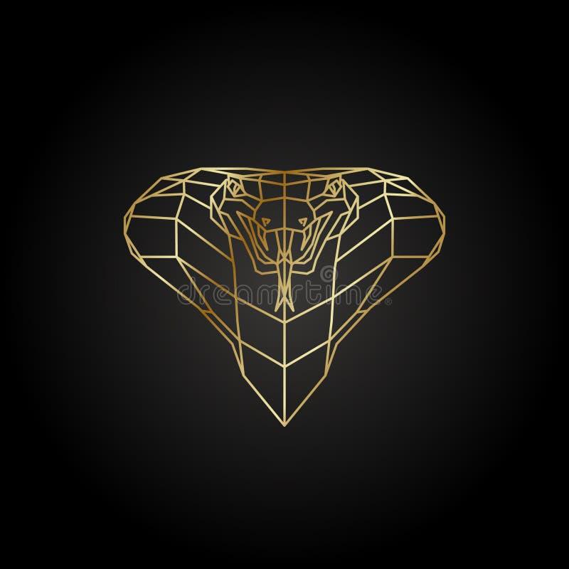 Абстрактный шаблон полигона кобры золота на черной предпосылке бесплатная иллюстрация