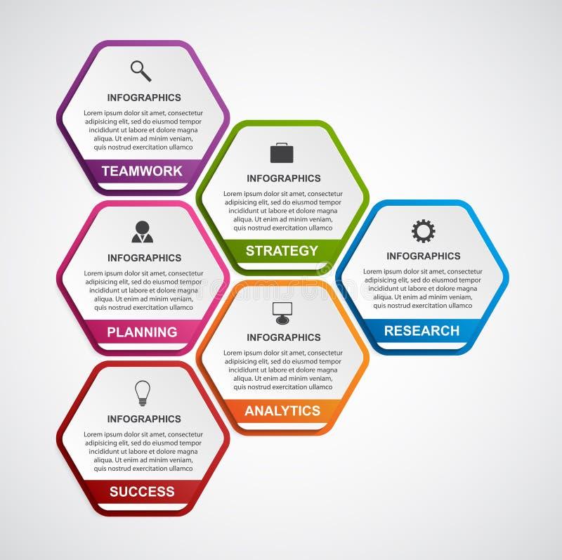 Абстрактный шаблон infographics вариантов дела шестиугольника иллюстрация штока