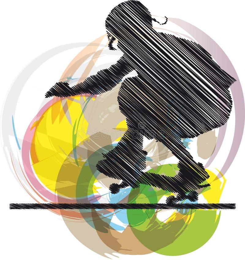 абстрактный эскиз конькобежца иллюстрация вектора