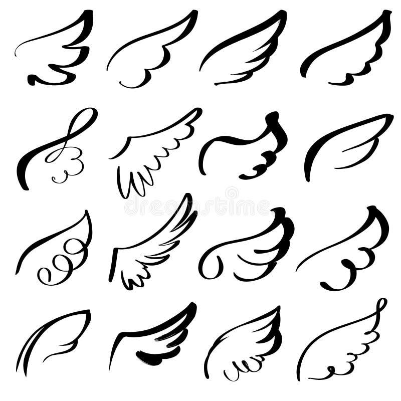 Абстрактный эскиз летая иллюстрации вектора руки мультфильма собрания значка набора эскиза голубя вычерченный иллюстрация вектора