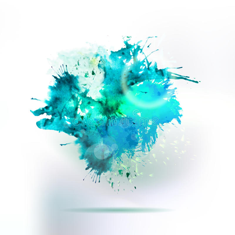 Абстрактный элемент выплеска воды чертежа акварели иллюстрация штока
