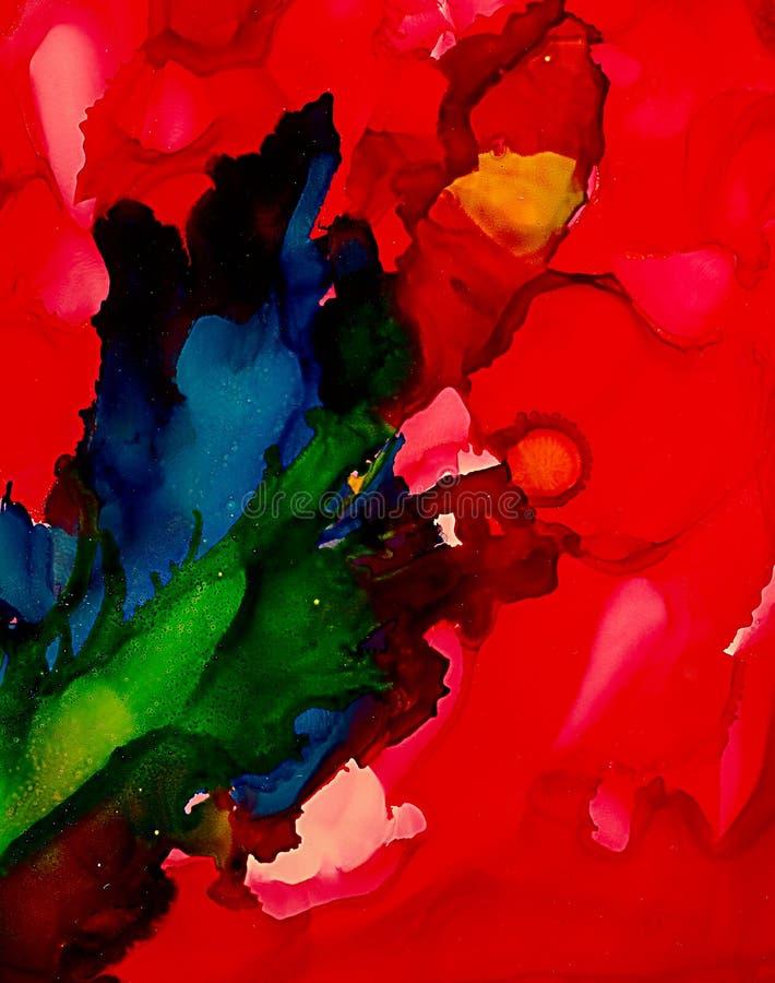 Абстрактный яркий красный цвет с голубым корнем бесплатная иллюстрация