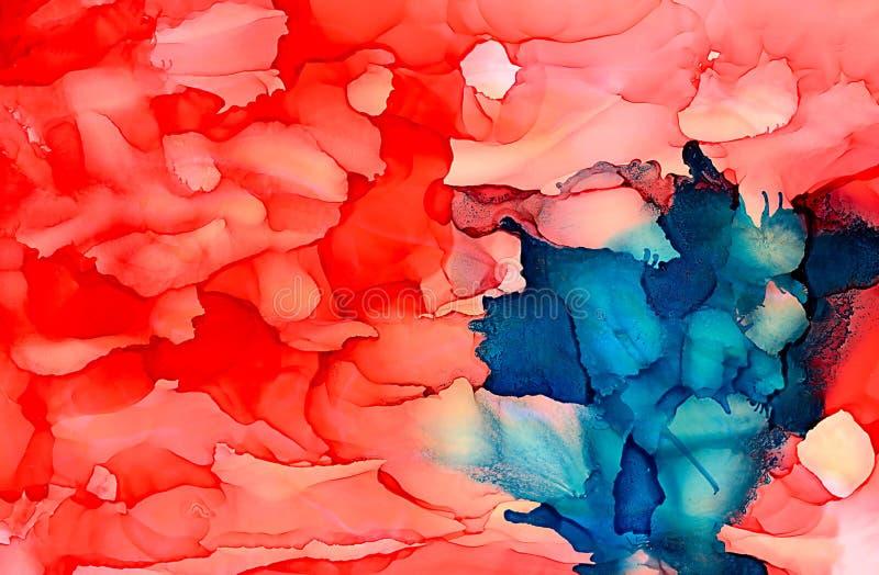 Абстрактный яркий красный цвет с голубым пятном иллюстрация вектора
