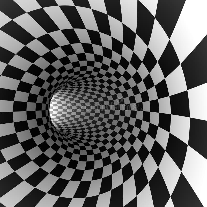 Абстрактный checkered круглый тоннель иллюстрация штока