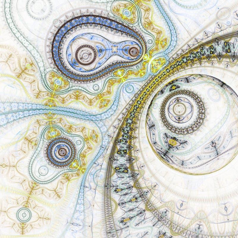 Абстрактный clockwork фрактали золота иллюстрация вектора