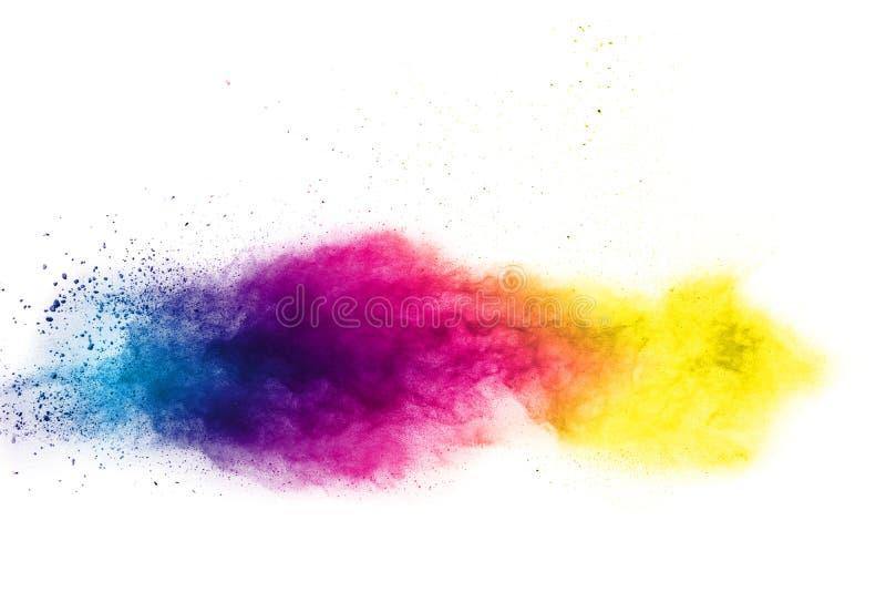 Абстрактный multi взрыв порошка цвета на белой предпосылке стоковые фото