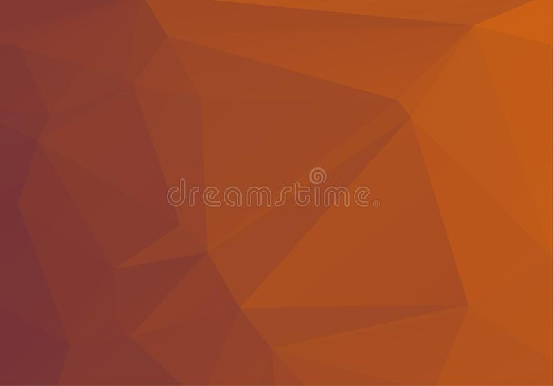 Абстрактный Multicolor апельсин, картина коричневого градиента геометрическая Предпосылка треугольников Полигональный конспект ра иллюстрация вектора