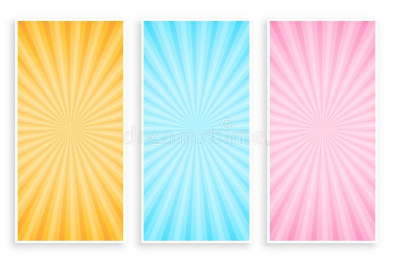 Абстрактный sunburst набор знамени лучей иллюстрация штока