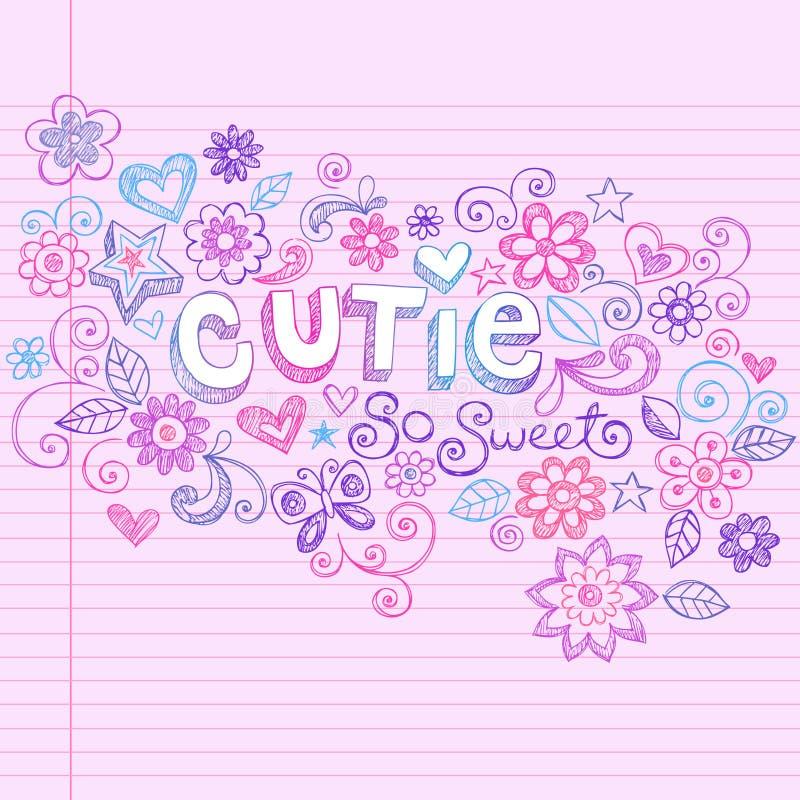 абстрактными рука cutie нарисованная doodles схематичная иллюстрация вектора