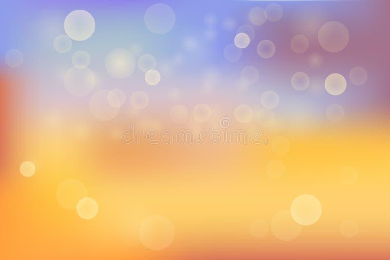 Абстрактным желтым и голубым предпосылка запачканная цветом с картиной пирофакела bokeh и объектива иллюстрация штока