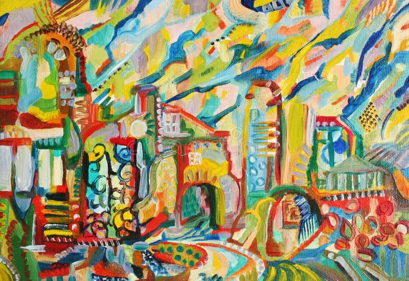 абстрактным изображение города покрашенное маслом иллюстрация штока