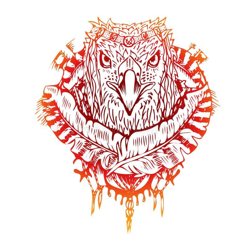 Абстрактным орел покрашенный графиком, печать бесплатная иллюстрация