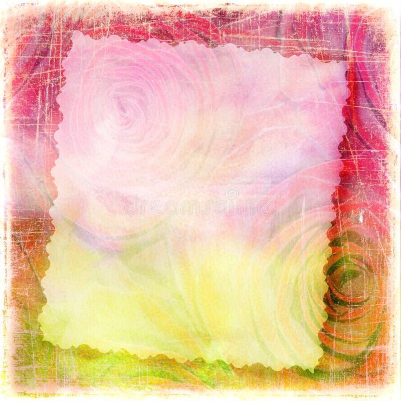 Абстрактным предпосылка текстурированная grunge с розами стоковое фото rf