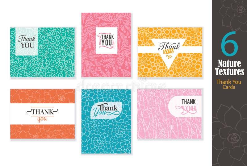 6 абстрактных естественных комплектов карточек текстур спасибо с дизайном текста, предпосылками картины совершенными для любой св иллюстрация вектора