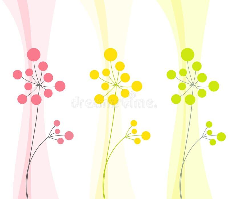 2 абстрактных цветка в 3 цветах стоковое изображение