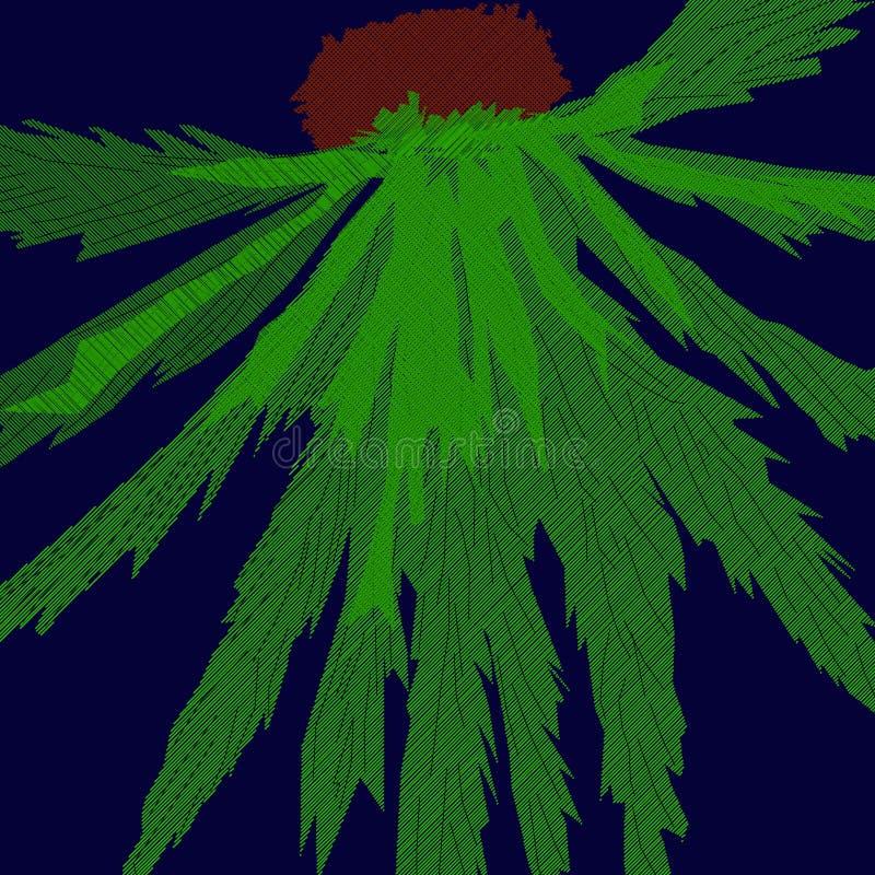 Абстракция ладони, зеленый цветок в ноче иллюстрация вектора