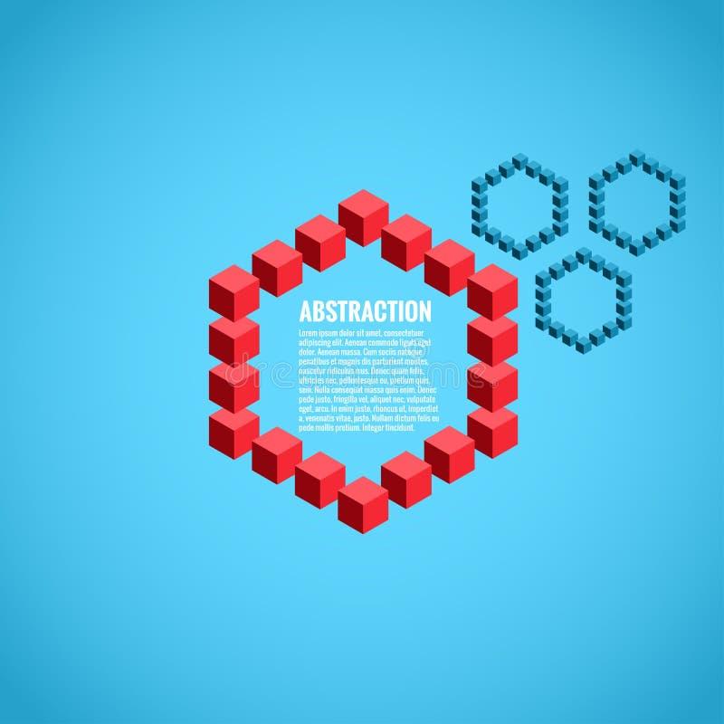 Абстракция от кубов с центральные красные кубы иллюстрация штока