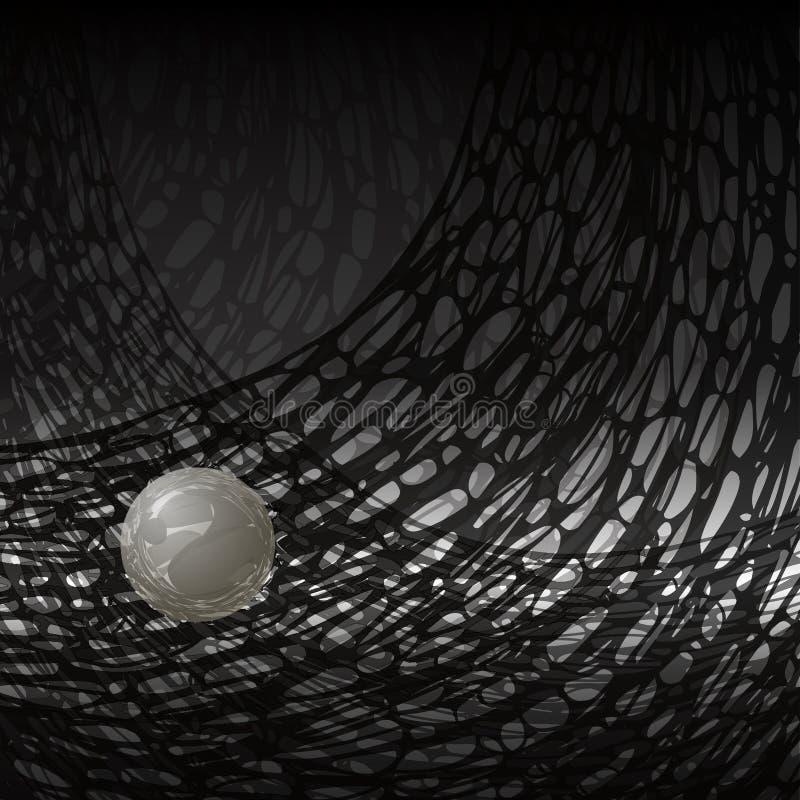 Абстракция ювелирных изделий ночи рыболовная сеть и прозрачный белый шарик жемчуга бесплатная иллюстрация