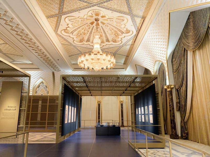 Абу-Даби, Объениненные Арабские Эмираты, 19-ое марта 2019 Президентский дворец, дворец al-Watan Qasr дворец нации внутри меня стоковые изображения