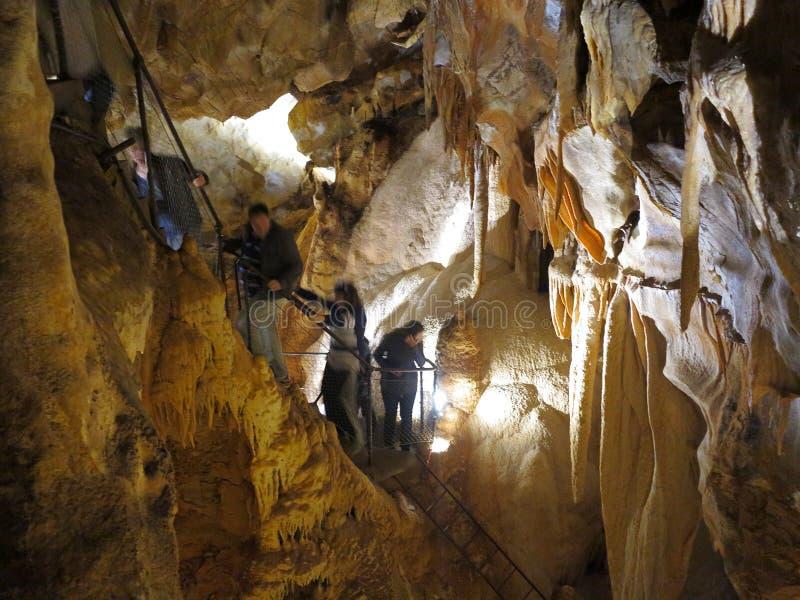 Авантюрное путешествие в подземелье - подземельях Jenolan стоковые фотографии rf