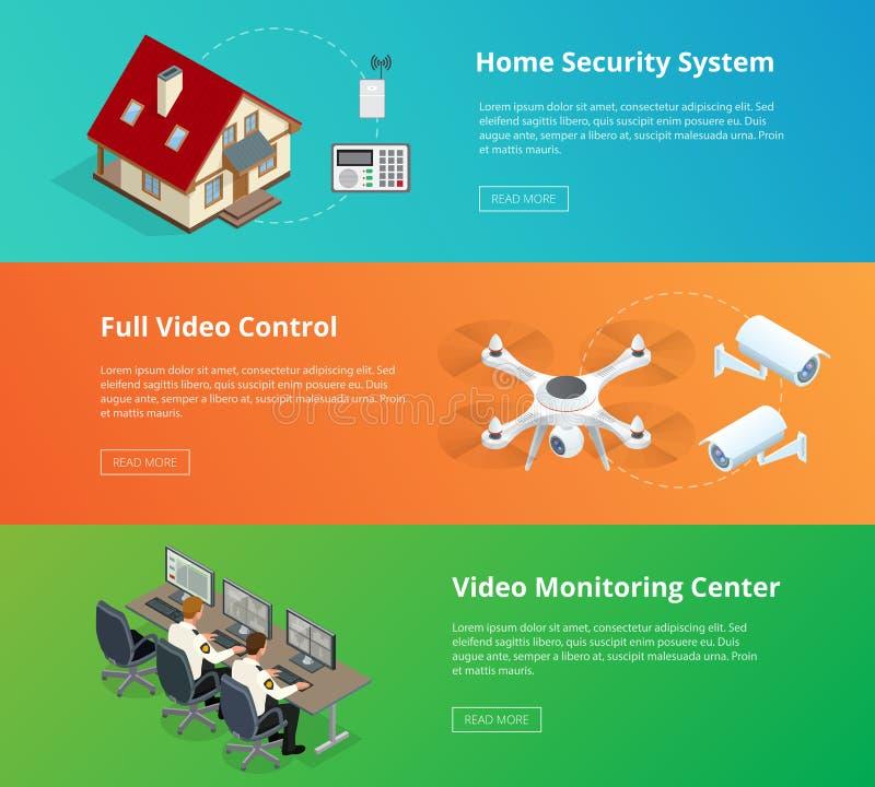 Аварийная система Система безопасности обеспеченность множества copyspace камеры Комната контроля доступа Контроль охранника Дист иллюстрация штока