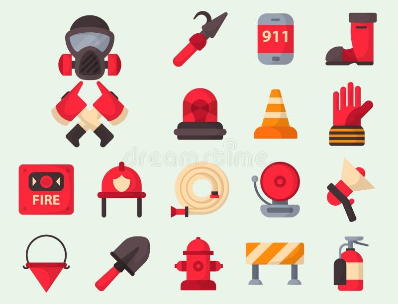 Аварийная ситуация оборудования пожарной безопасности оборудует иллюстрацию вектора предохранения от аварии опасности пожарного б иллюстрация штока
