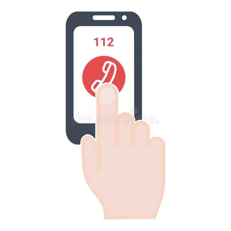 Аварийный аварийный вызов концепции на экране телефона белизна изолированная предпосылкой Иллюстрация значка вектора иллюстрация штока