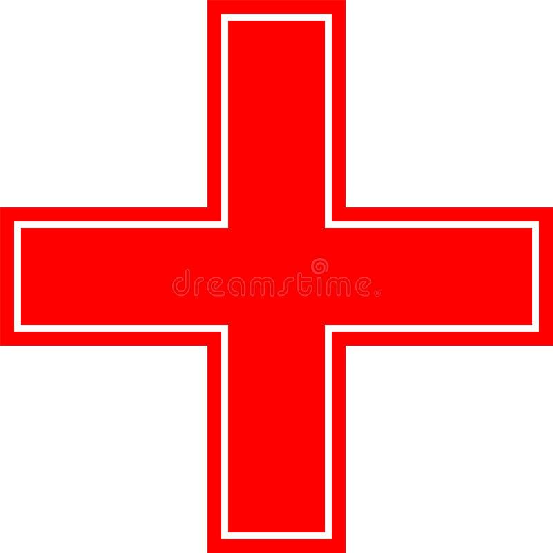 Аварийный, перекрестный, красный, черный, рамка & frameless значок изолированные на белой предпосылке иллюстрация штока