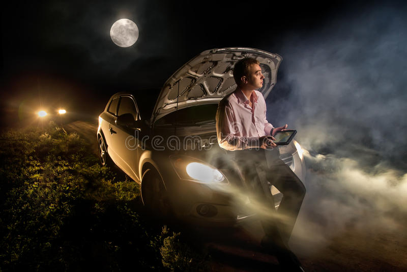 Авария в ноче стоковое фото rf